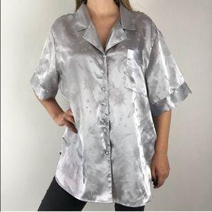 Vintage Celestial Sun Moon Stars Silver Pajama Top